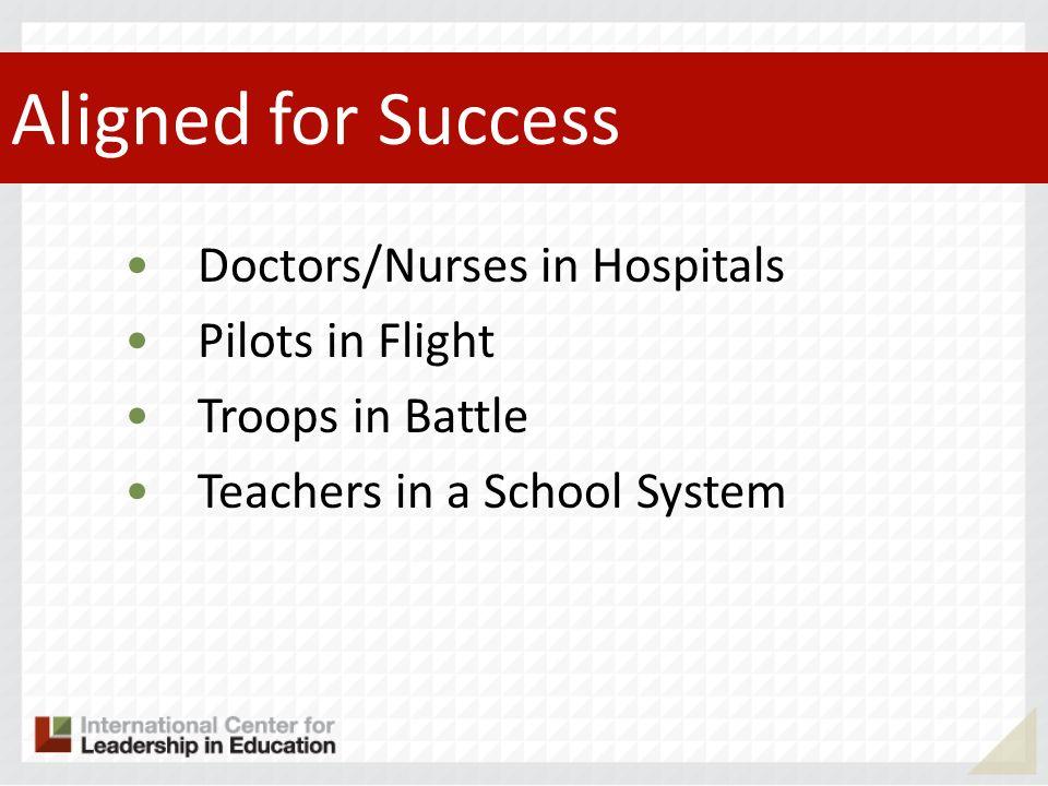 Aligned for Success Doctors/Nurses in Hospitals Pilots in Flight Troops in Battle Teachers in a School System