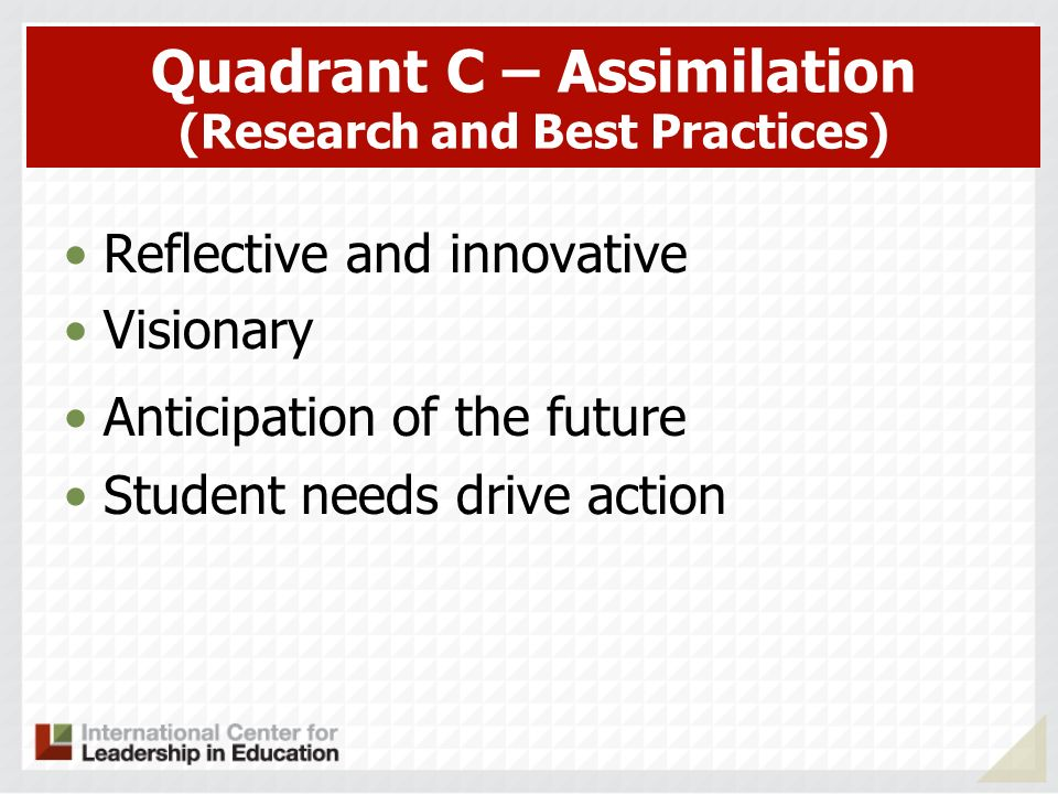 Quadrant C – Assimilation (Research and Best Practices) Reflective and innovative Visionary Anticipation of the future Student needs drive action