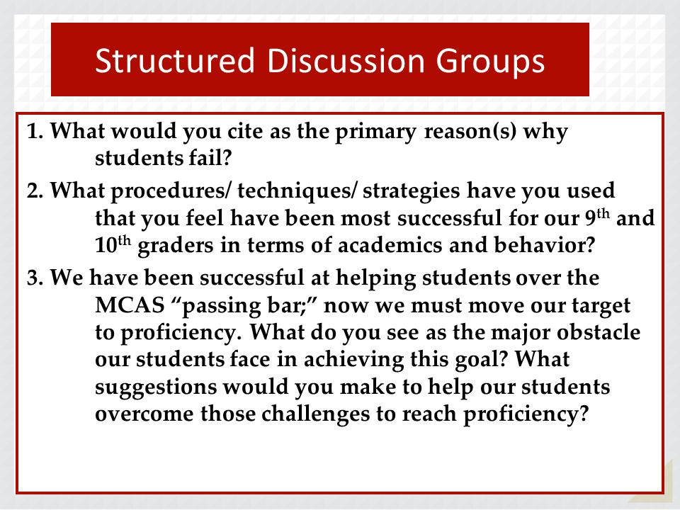 94 1.What would you cite as the primary reason(s) why students fail.