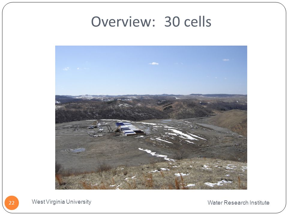 Overview: 30 cells Water Research Institute West Virginia University 22