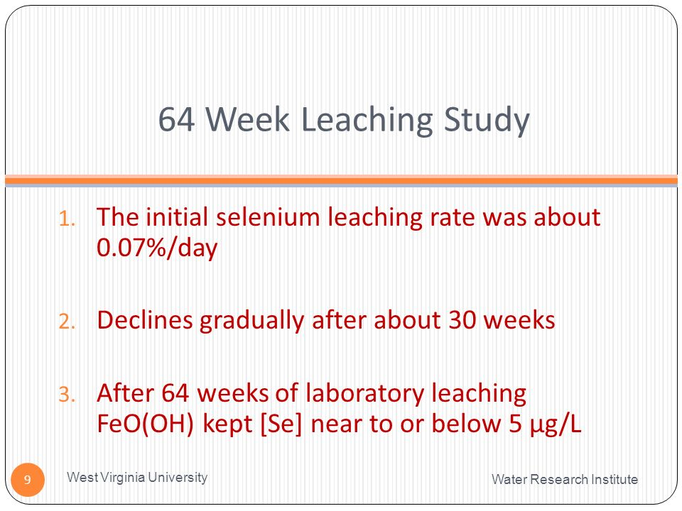 64 Week Leaching Study 1. The initial selenium leaching rate was about 0.07%/day 2.