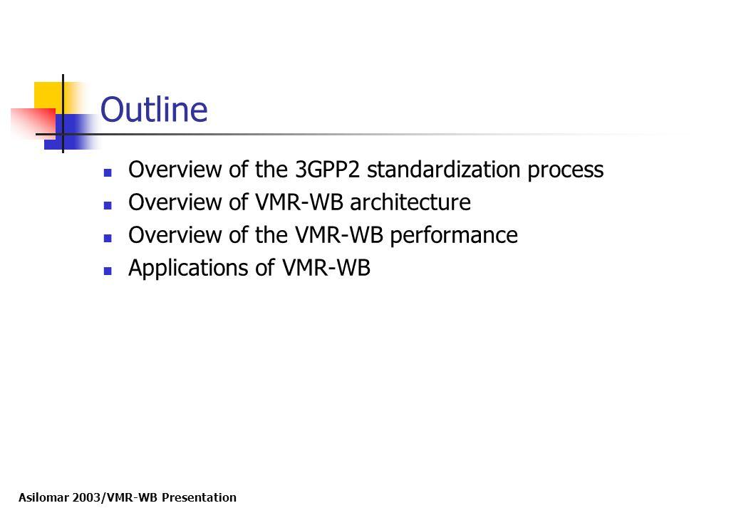 Asilomar 2003/VMR-WB Presentation Outline Overview of the 3GPP2 standardization process Overview of VMR-WB architecture Overview of the VMR-WB perform