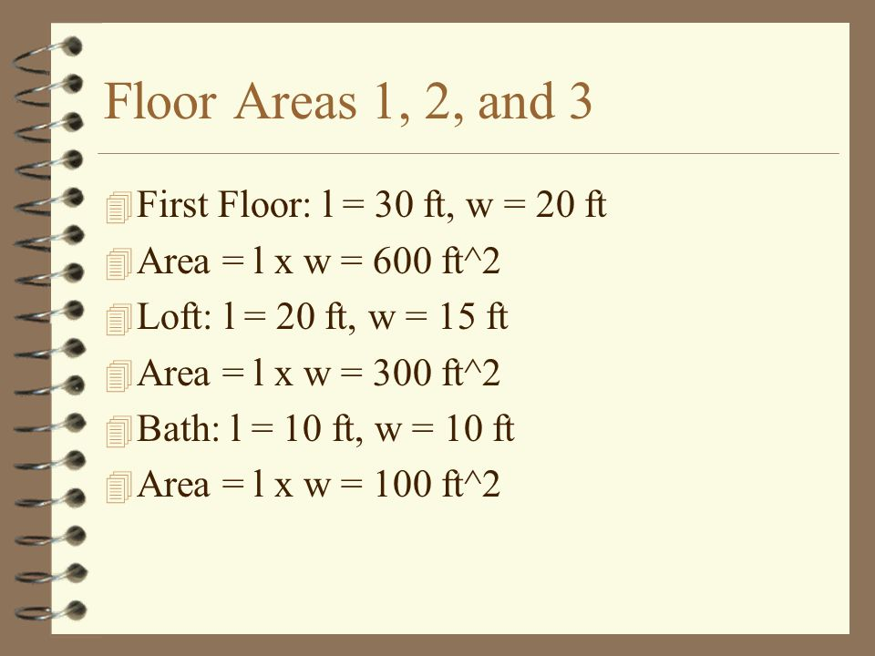 Area of Kitchen Counters, 4 4 Area along back wall: 4 Area = l x w = 15 ft x 2.5 ft = 37.5 ft^2 4 Area along side wall minus overlap: 4 A = l x w = (10 - 2.5) ft x 2.5 ft = 18.75 ft^2 4 Total Area = 56.25 ft^2 7.5 ft 15 ft 2.5 ft Kitchen Counter