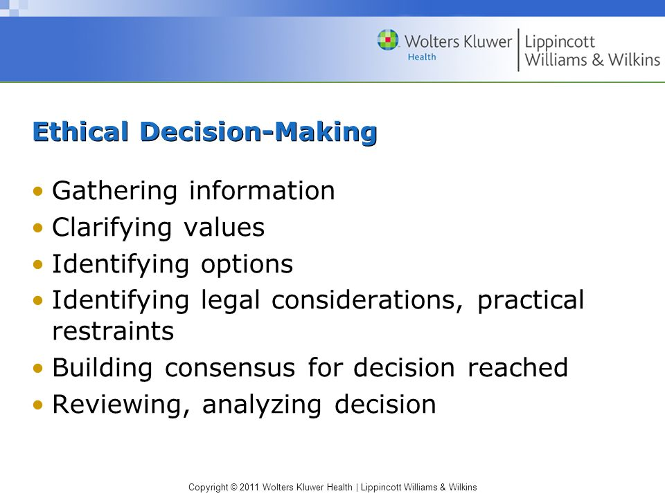 Copyright © 2011 Wolters Kluwer Health | Lippincott Williams & Wilkins Ethical Decision-Making Gathering information Clarifying values Identifying opt