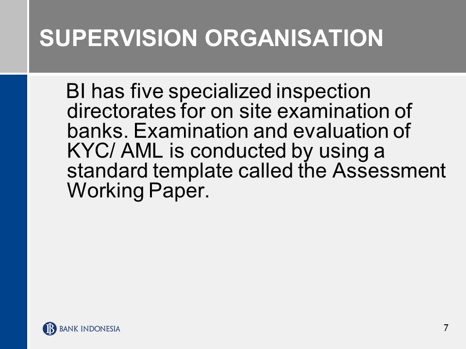 7 SUPERVISION ORGANISATION BI has five specialized inspection directorates for on site examination of banks.