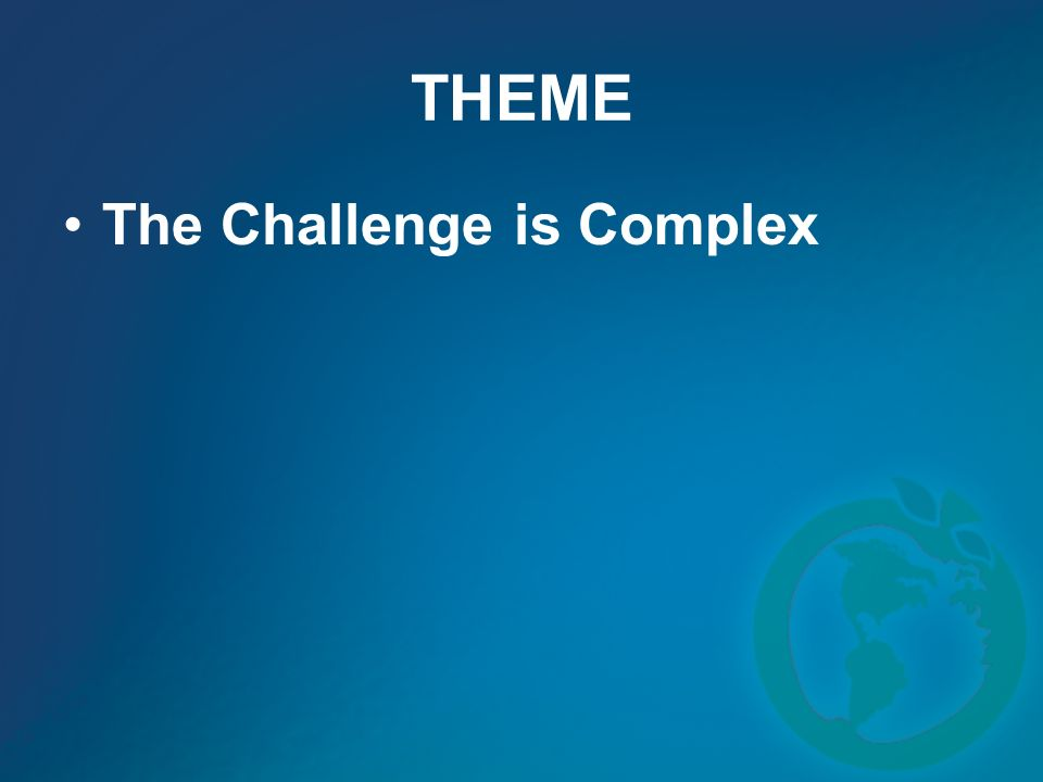 THEME The Challenge is Complex