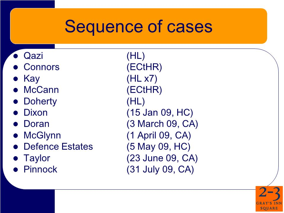 Sequence of cases Qazi (HL) Connors(ECtHR) Kay (HL x7) McCann (ECtHR) Doherty (HL) Dixon (15 Jan 09, HC) Doran (3 March 09, CA) McGlynn(1 April 09, CA) Defence Estates (5 May 09, HC) Taylor(23 June 09, CA) Pinnock (31 July 09, CA)