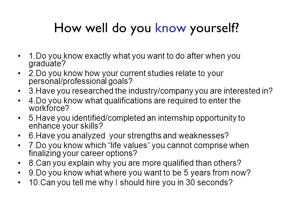 How well do you know yourself? 1.Do you know exactly what you want to do after when you graduate? 2.Do you know how your current studies relate to you