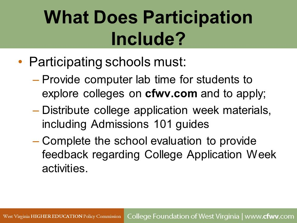 What Does Participation Include? Participating schools must: –Provide computer lab time for students to explore colleges on cfwv.com and to apply; –Di