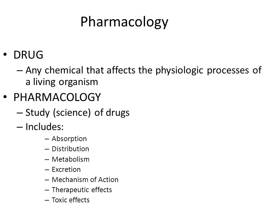 Pharmacotherapeutics Prophylactic therapy – Used to prevent illness – Example: pre-op antibiotics, vaccines Empiric therapy – Use of a drug based on probability, certain illness/disease has likelihood of occurrence – Example: Antibiotic for UTI before actual diagnosis