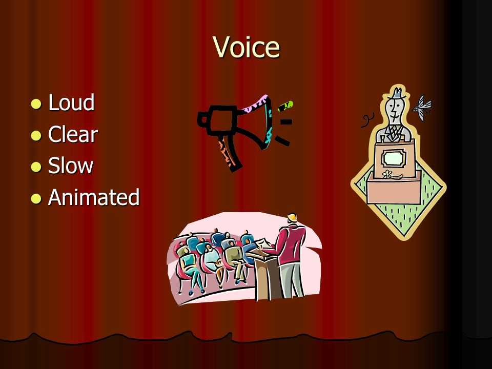Voice Loud Loud Clear Clear Slow Slow Animated Animated