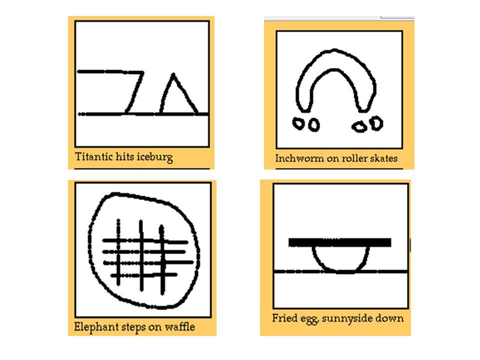 Elephant steps on waffle Inchworm on rollerskate Titanic hits iceburg Fried egg, sunnyside down
