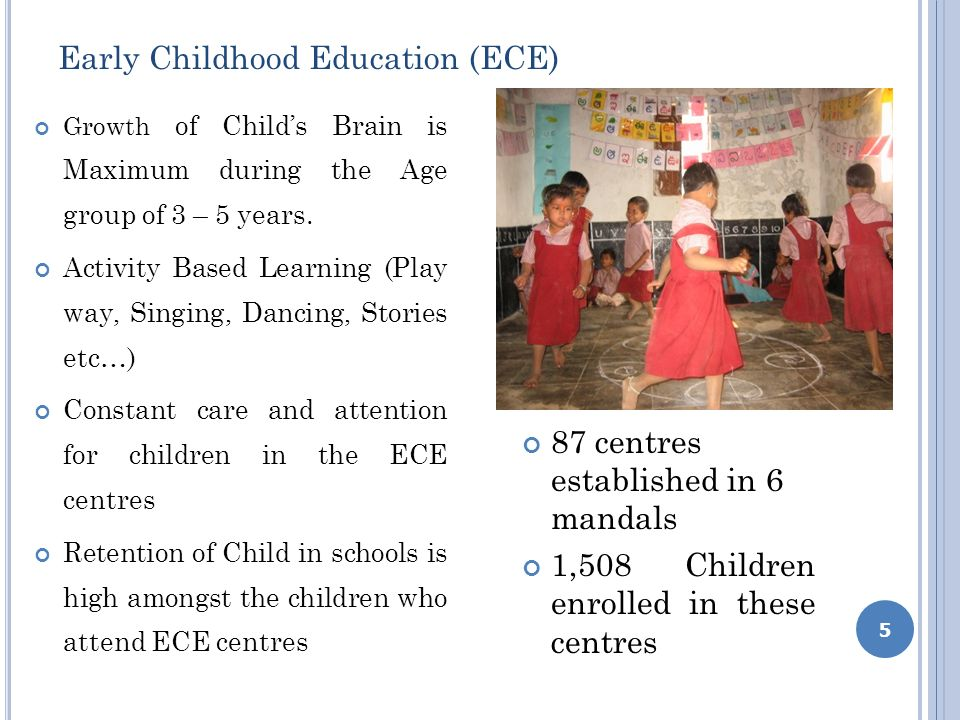 Early Childhood Education (ECE) Growth of Childs Brain is Maximum during the Age group of 3 – 5 years.