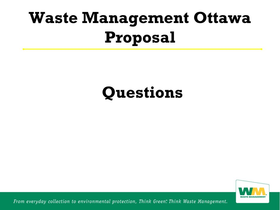 Waste Management Ottawa Proposal Questions