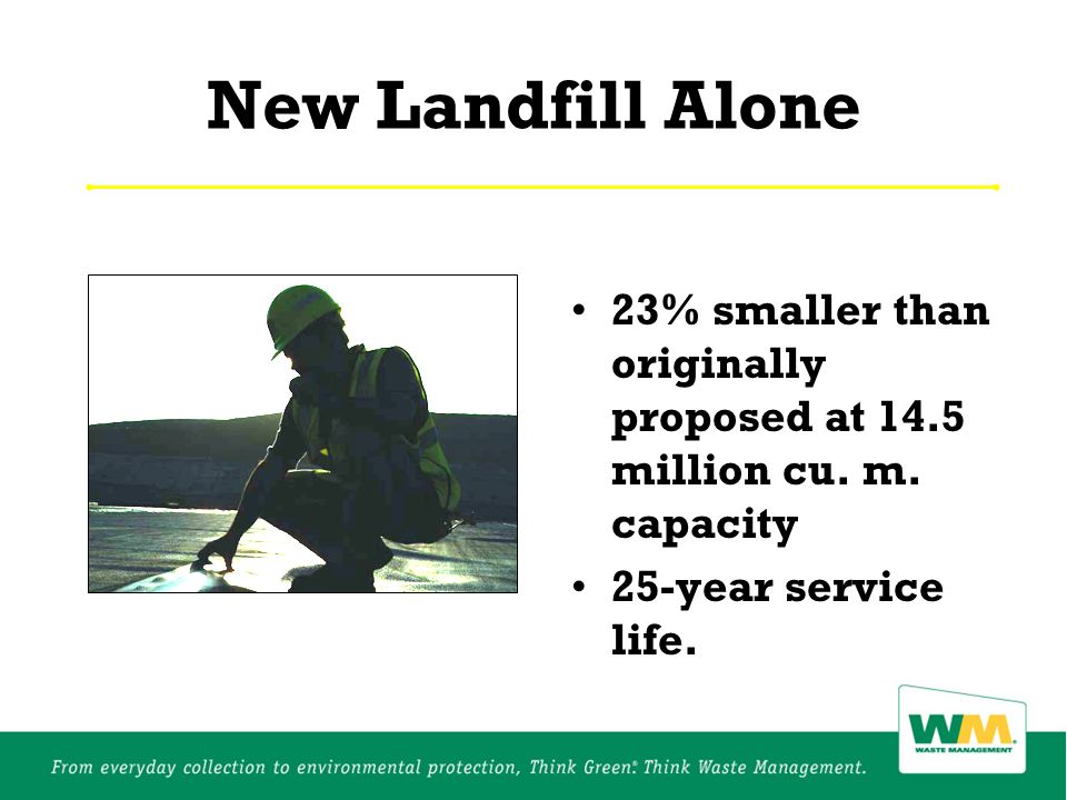 New Landfill Alone 23% smaller than originally proposed at 14.5 million cu.