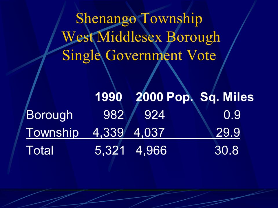 Elements of the Joint Agreement During the years 2009, 2010, and 2011, the Borough and the Township governments shall work closely together to effect a smooth transition into the single municipal government as is required by the PA Municipal Consolidation or Merger Act.