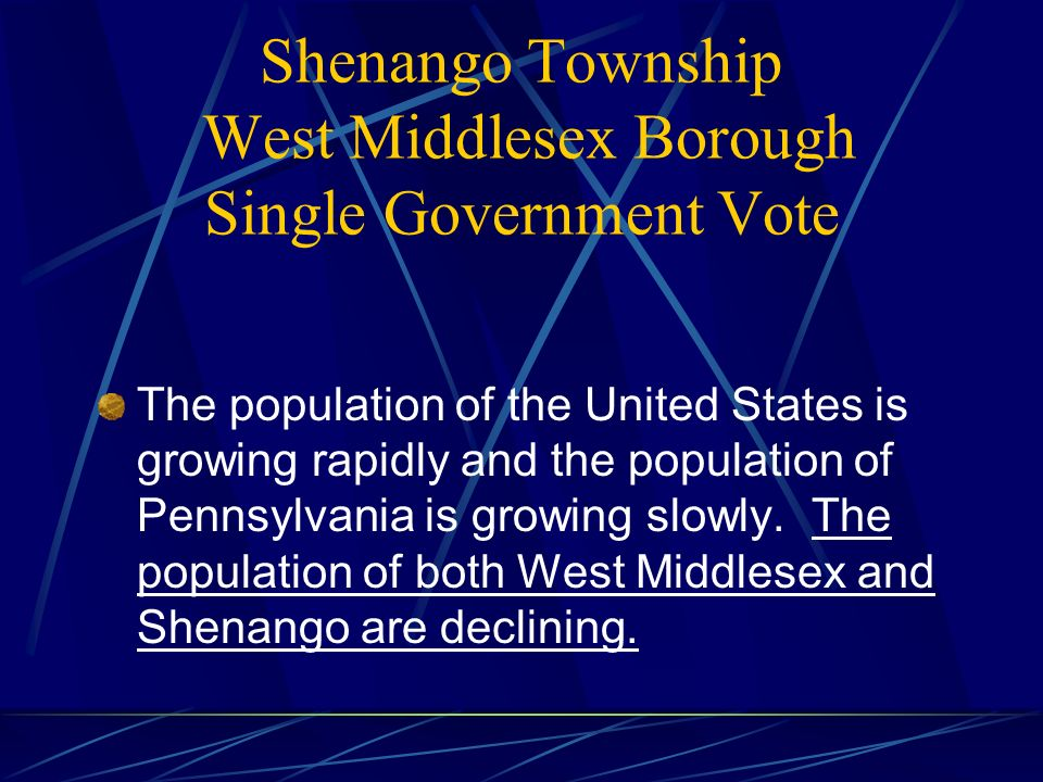 Major Elements of the Joint Agreement Requires Approval by the Voters in Each Establishes Second Class Township in PA Law Five Member Board of Supervisors One RET Tax Collector All Officers Elected Across Entire Area 2011 Name of Government: West Middlesex Commences Operations: January 2012 Transition during 2009, 2010, 2011