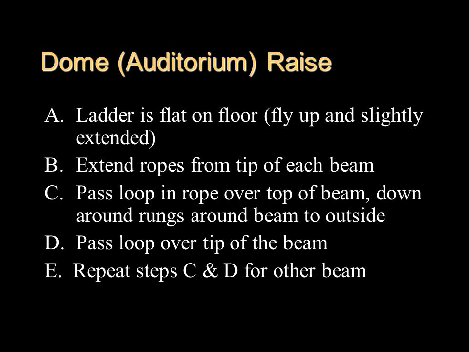 Dome (Auditorium) Raise A.Ladder is flat on floor (fly up and slightly extended) B.Extend ropes from tip of each beam C.Pass loop in rope over top of