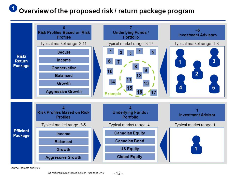 - 12 - Confidential Draft for Discussion Purposes Only 4 Risk Profiles Based on Risk Profiles Overview of the proposed risk / return package program S