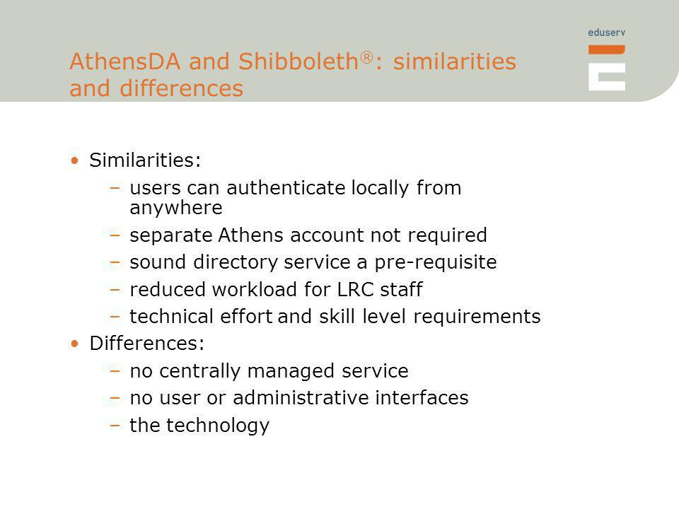 AthensDA and Shibboleth ® : similarities and differences Similarities: –users can authenticate locally from anywhere –separate Athens account not requ