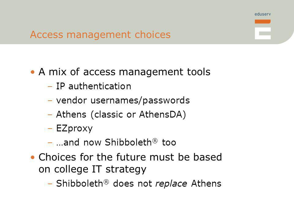 Access management choices A mix of access management tools –IP authentication –vendor usernames/passwords –Athens (classic or AthensDA) –EZproxy –…and