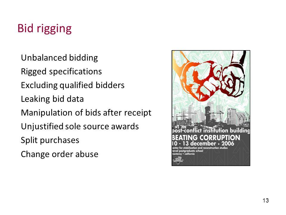 13 Bid rigging Unbalanced bidding Rigged specifications Excluding qualified bidders Leaking bid data Manipulation of bids after receipt Unjustified so