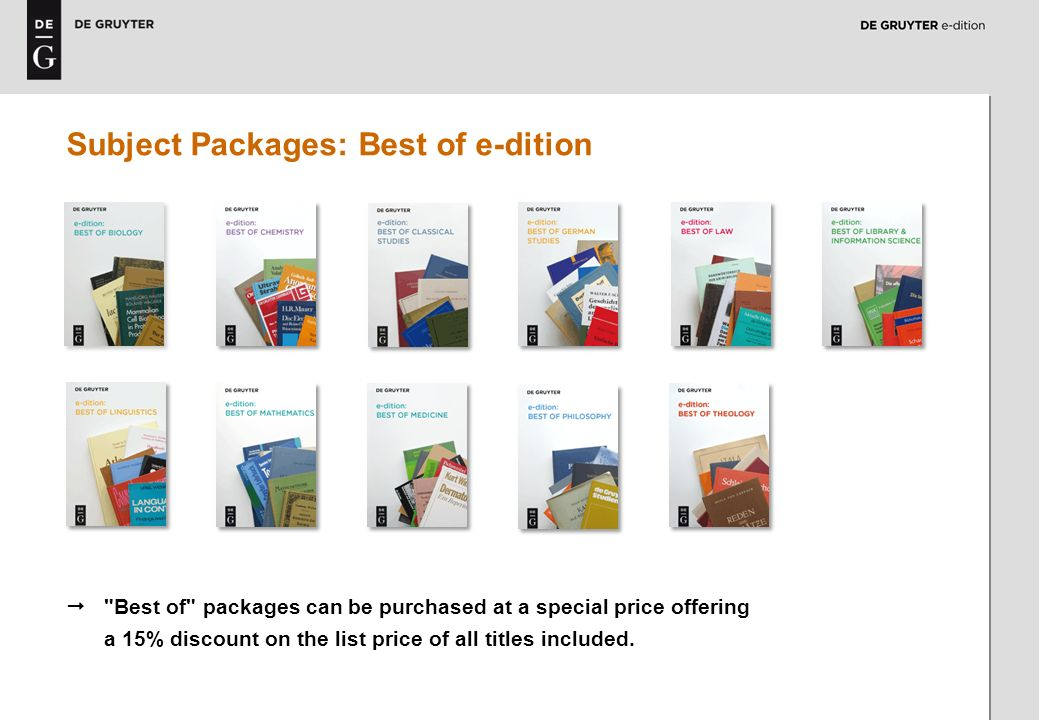 6 Subject Packages: Best of e-dition Best of packages can be purchased at a special price offering a 15% discount on the list price of all titles included.
