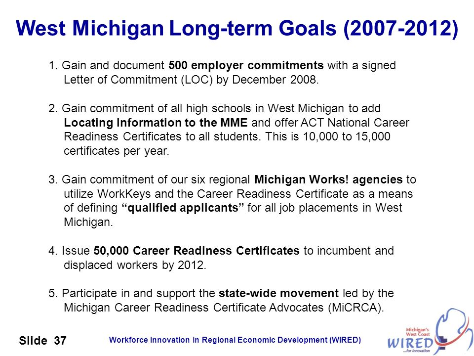 Workforce Innovation in Regional Economic Development (WIRED) Slide 37 West Michigan Long-term Goals (2007-2012) 1. Gain and document 500 employer com