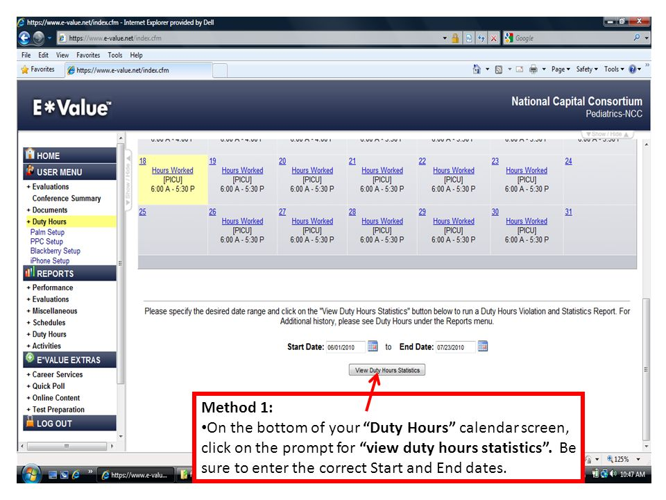 Method 1: On the bottom of your Duty Hours calendar screen, click on the prompt for view duty hours statistics.