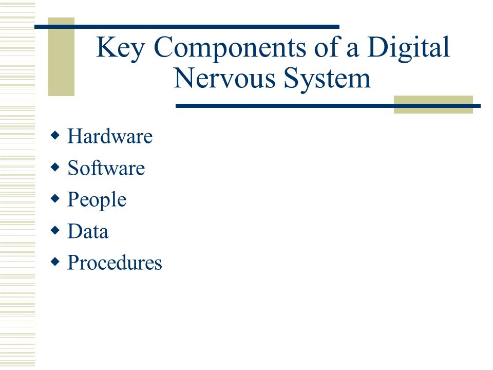 Key Components of a Digital Nervous System Hardware Software People Data Procedures