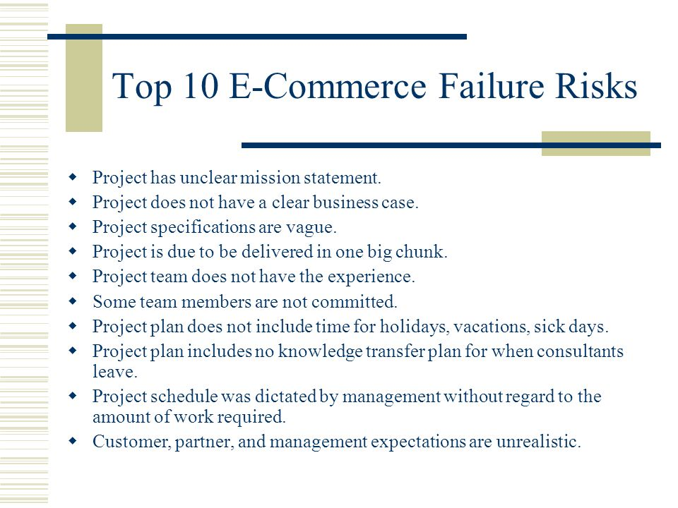 Top 10 E-Commerce Failure Risks Project has unclear mission statement.