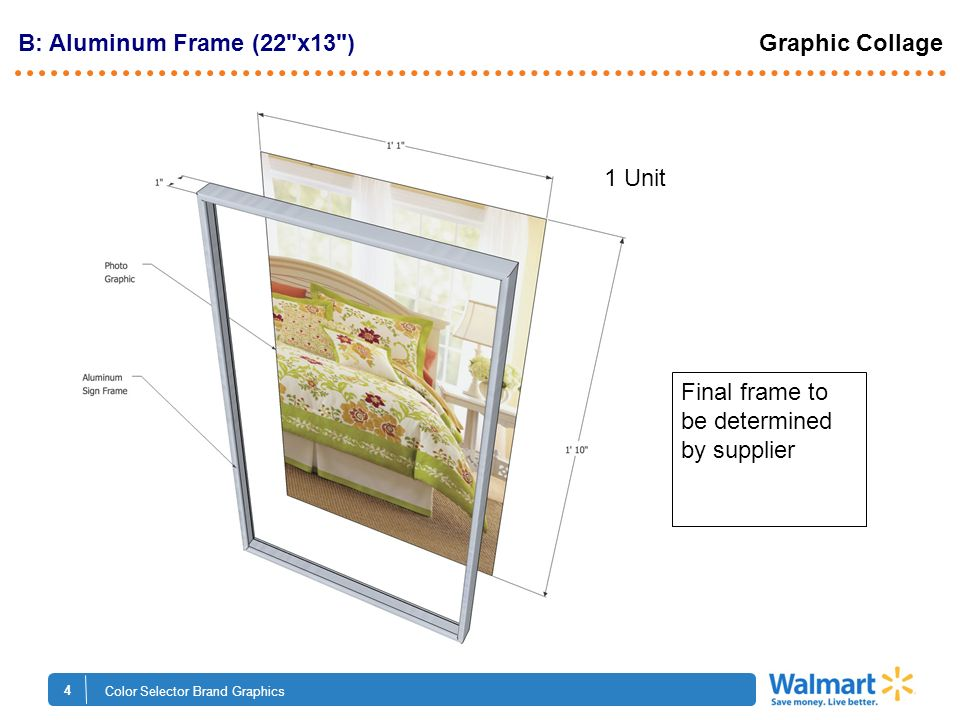 4 Color Selector Brand Graphics B: Aluminum Frame (22 x13 ) Graphic Collage Final frame to be determined by supplier 1 Unit