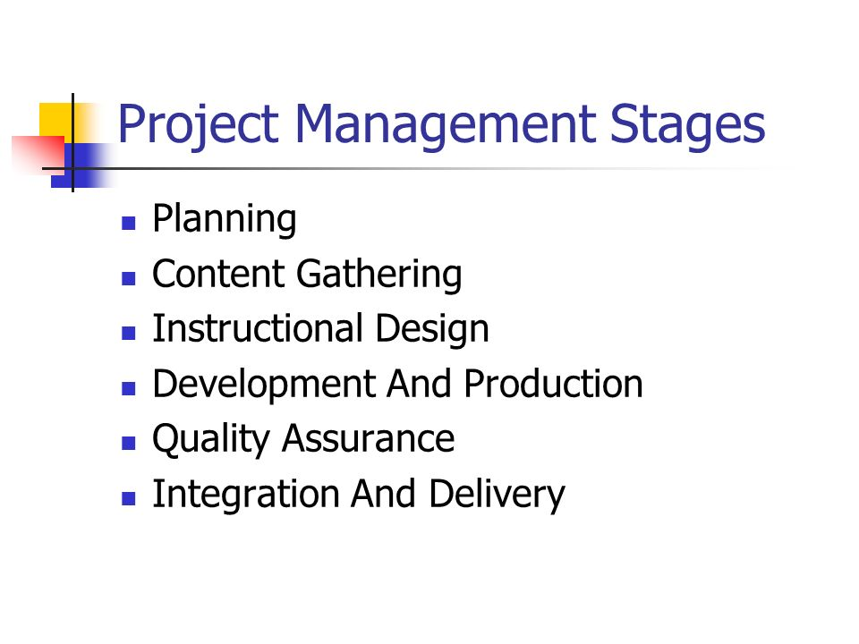 Project Management Stages Planning Content Gathering Instructional Design Development And Production Quality Assurance Integration And Delivery