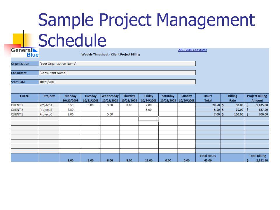 Sample Project Management Schedule