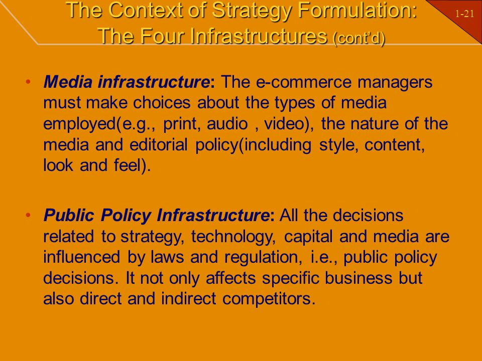 1-21 The Context of Strategy Formulation: The Four Infrastructures (contd) Media infrastructure: The e-commerce managers must make choices about the t