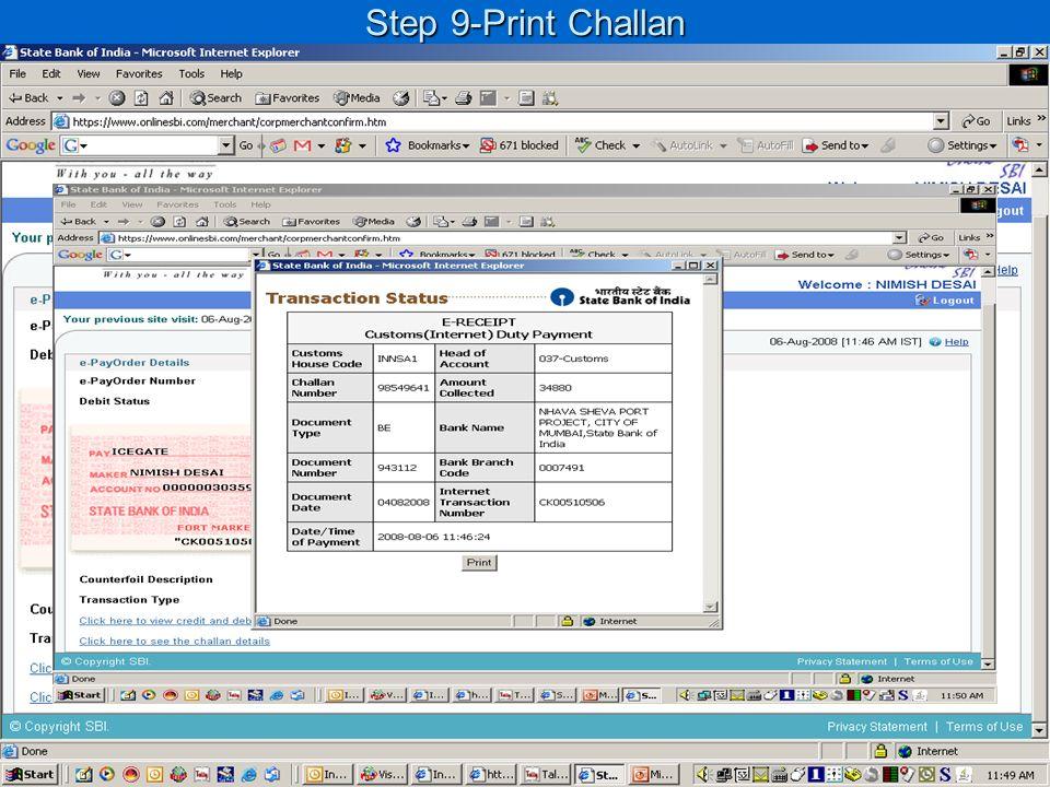 Step 9-Print Challan