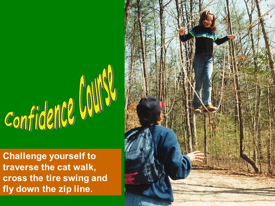 Challenge yourself to traverse the cat walk, cross the tire swing and fly down the zip line.