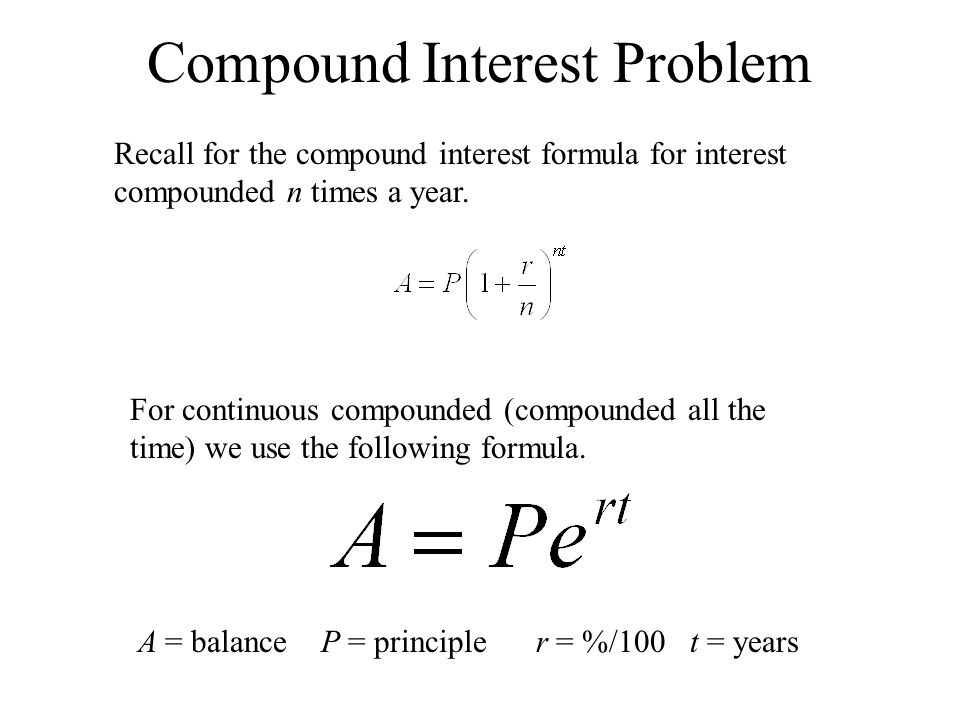 Interest Problem You deposit $975 in an account that pays 5.5% annual interest compounded continuously.