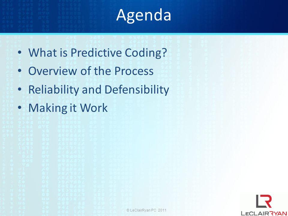 © LeClairRyan PC 2011 Agenda What is Predictive Coding.
