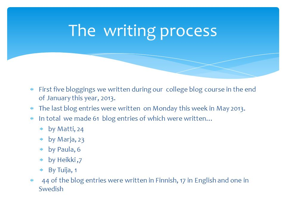 First five bloggings we written during our college blog course in the end of January this year, 2013.