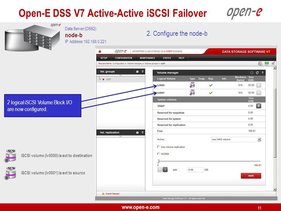www.open-e.com 11 2. Configure the node-b Data Server (DSS2) node-b IP Address:192.168.0.221 Open-E DSS V7 Active-Active iSCSI Failover