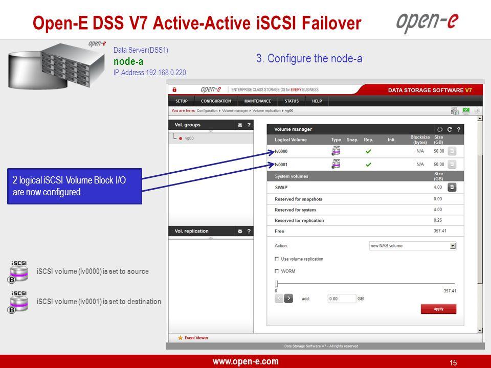 www.open-e.com 15 3. Configure the node-a Data Server (DSS1) node-a IP Address:192.168.0.220 iSCSI volume (lv0000) is set to source iSCSI volume (lv00