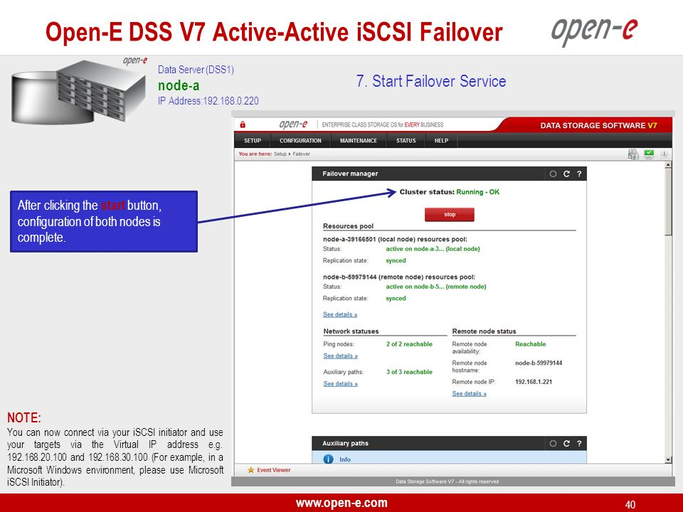 www.open-e.com 40 Data Server (DSS1) node-a IP Address:192.168.0.220 After clicking the start button, configuration of both nodes is complete. NOTE: Y