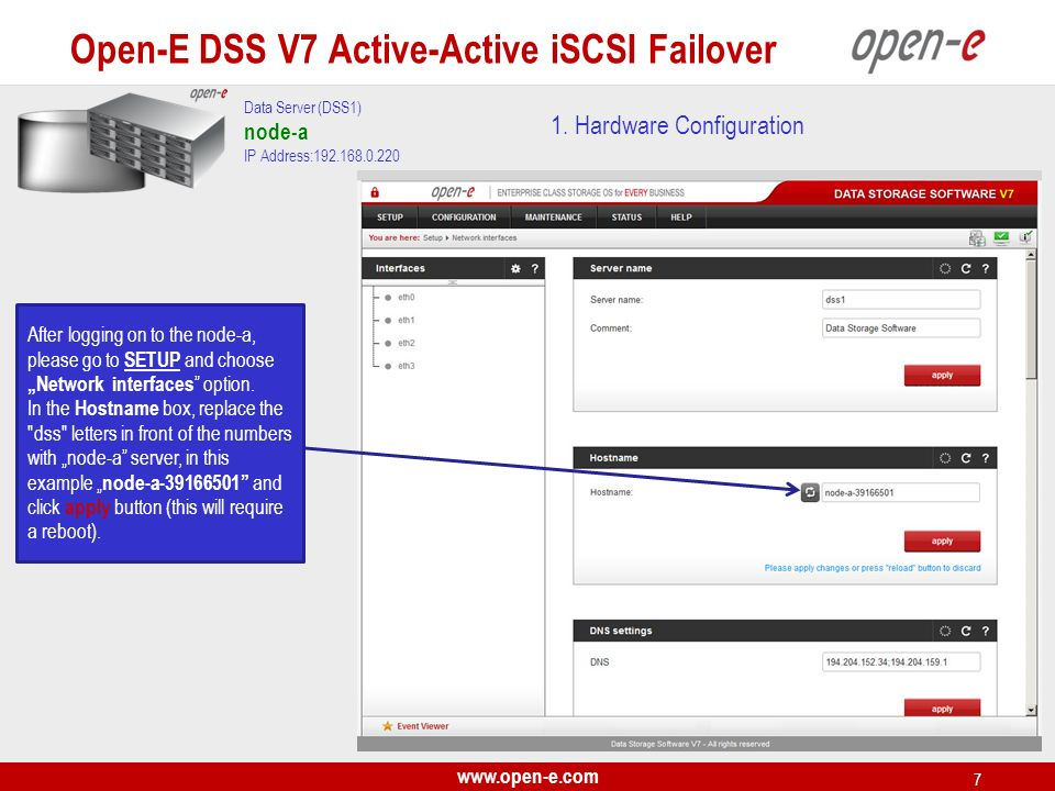 www.open-e.com 28 On the node-a, choose CONFIGURATION, iSCSI target manager and Targets from the top menu.