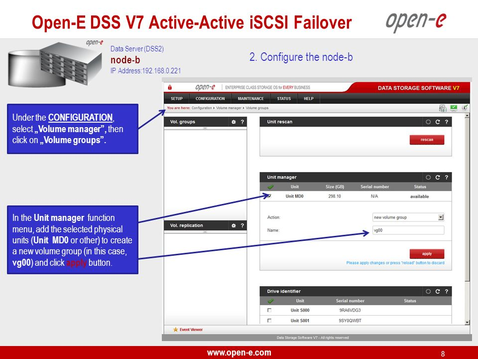 www.open-e.com 29 iSCSI targets Next, you must set the 2nd target.