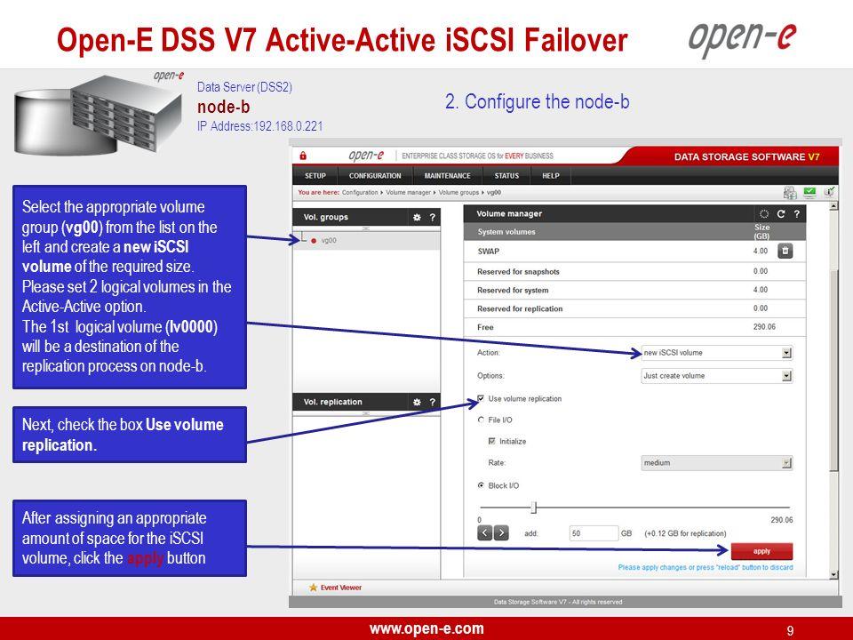www.open-e.com 10 Next, create the 2nd logical volume on the node-b.