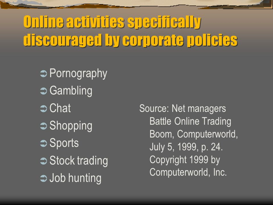 Online activities specifically discouraged by corporate policies Pornography Gambling Chat Shopping Sports Stock trading Job hunting Source: Net manag