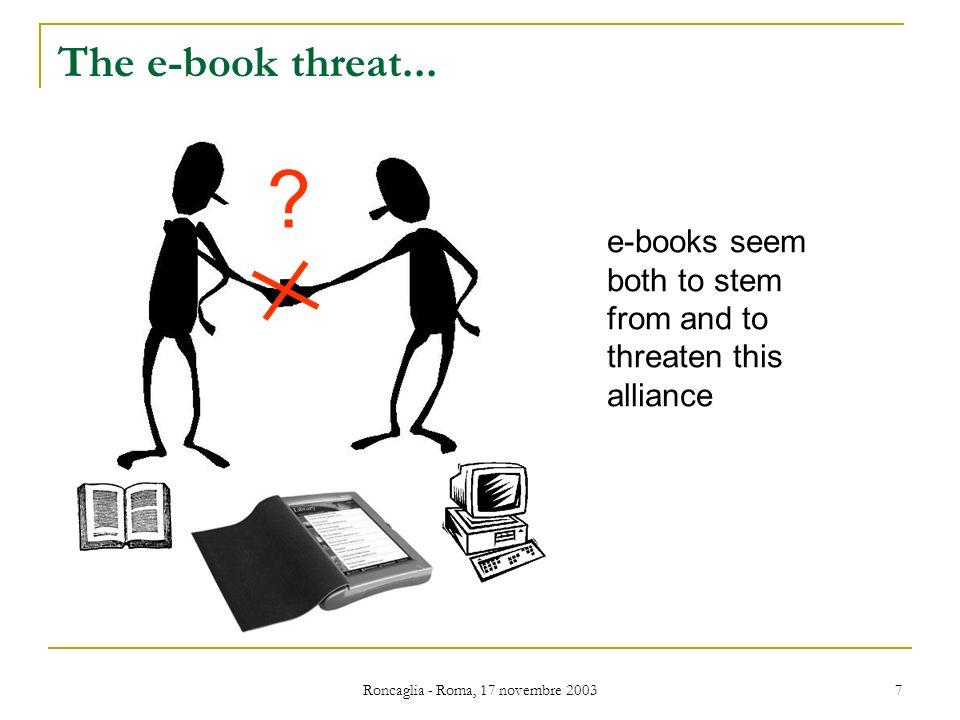 Roncaglia - Roma, 17 novembre 2003 7 The e-book threat...