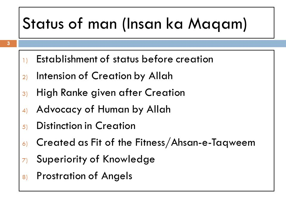 Status of man (Insan ka Maqam) 3 1) Establishment of status before creation 2) Intension of Creation by Allah 3) High Ranke given after Creation 4) Advocacy of Human by Allah 5) Distinction in Creation 6) Created as Fit of the Fitness/Ahsan-e-Taqweem 7) Superiority of Knowledge 8) Prostration of Angels