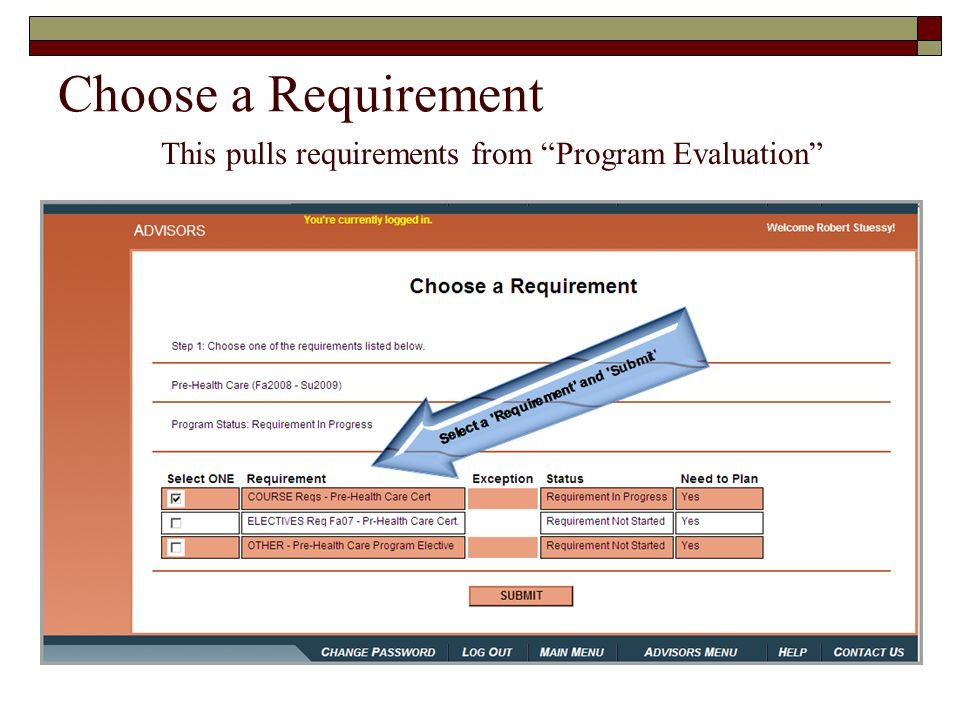 Choose a Requirement This pulls requirements from Program Evaluation